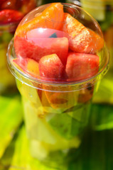 Fruit Salad arranged in plastic cups