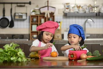 Little Girls Preparing Healthy Food