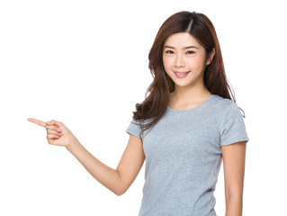 Asian woman showing on white background