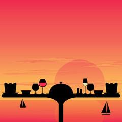Dinner Sunset on the beach