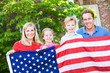 Summer: Family with American Flag - 81115766