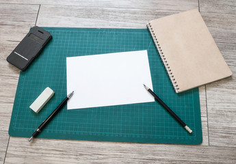 Stationery and blank white paper( White paper for text )