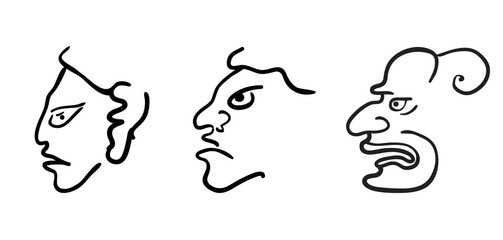 Faces in style of Maya Indians, vector illustration