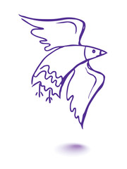Vector graphic, artistic, stylized image of dove of peace
