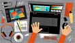 Flat design of creative office workspace - 81116557