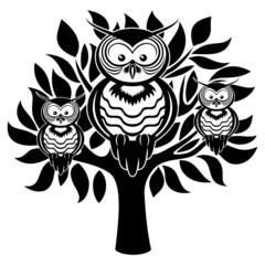 Vector sign. Owls on the tree.