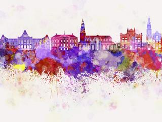 Groningen skyline in watercolor background