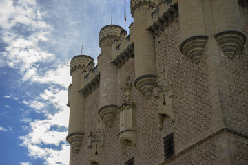 Medieval tower, alcazar castle city of Segovia, Spain. Old town