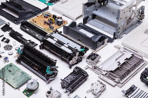 Leinwanddruck Bild Dissasembled printer