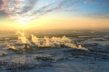 Oil refinery in winter, top view