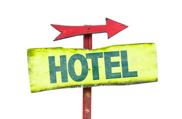 Hotel sign isolated on white