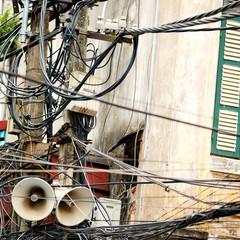 Tangle of Power Lines and Speakers, Hanoi, Vietnam