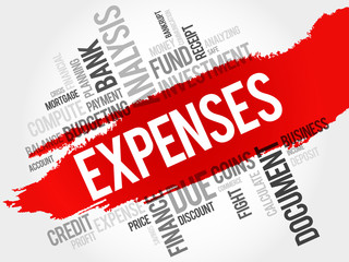 EXPENSES word cloud, business concept