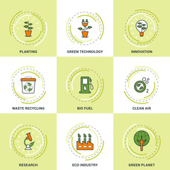 Modern Vector Ecology Line Icons Set