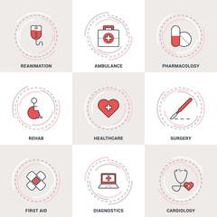 Modern Vector Medicine Line Icons Set