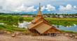 Leinwanddruck Bild - Russian landscape with  sacred source in Borovsk in  Kaluga
