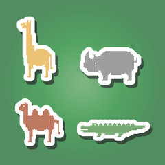 set of color icons with wild animals for your design