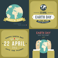 Set of Vintage Earth Day Celebrating Card
