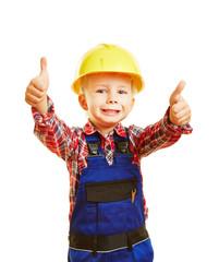 Kind als Bauarbeiter hält beide Daumen hoch