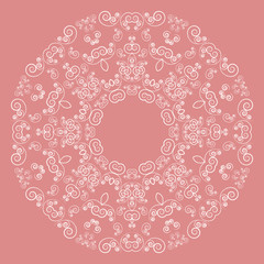 Round lacy pattern on pink background