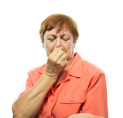Old woman covering her nose, bad smell