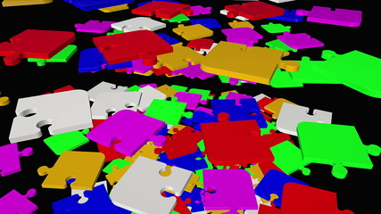 Falling, rotating abstract puzzle pieces in multicolor