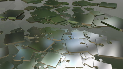 Falling, rotating abstract puzzle pieces in metal color