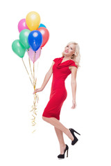 Smiling blonde woman with ballons isolated on white