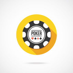 Black poker chip icon. Vector illustration