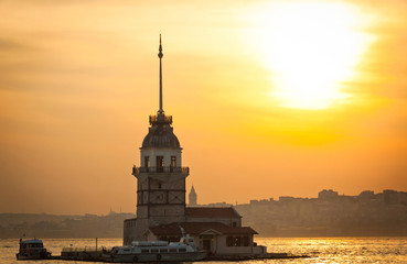 Maiden's Tower located in the middle of Bosphorus strait, Istanb