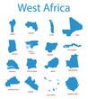 west africa - vector maps of territories