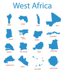 west africa - vector maps of territories