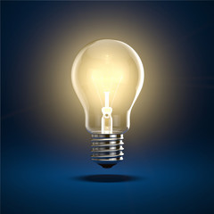 Glühbrine auf blauem Hintergrund