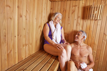 Senior people sweating in sauna