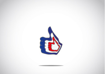 social media thumbs up double like paired up icon symbol concept