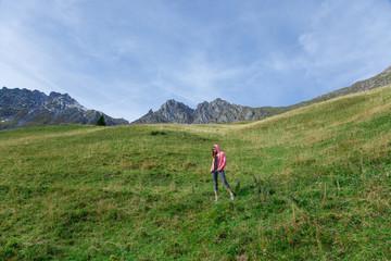 Woman hiking on the mountain