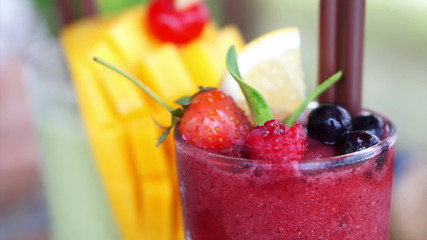 berries smoothies and mango tropical drink