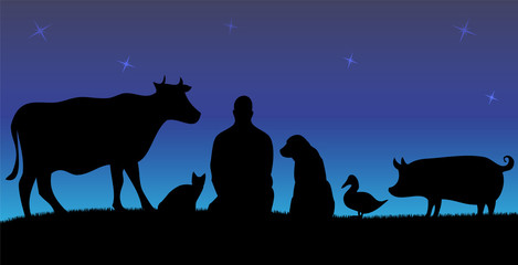 Vegan man with friends animals with blue night background
