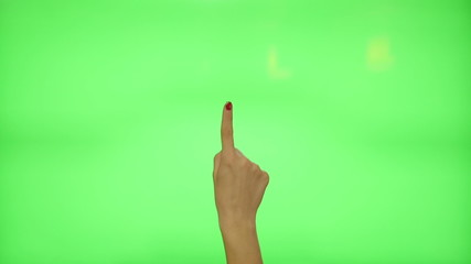 11 touchscreen gestures - female hand with red nails