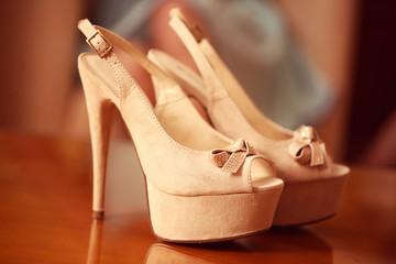 Beautiful wedding shoes for bride