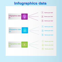 Blue infographic website with business data with blue frame