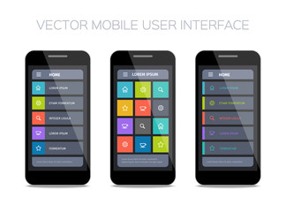 3 vector mobile user interface designs