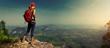 Leinwanddruck Bild - Lady hiker on the mountain