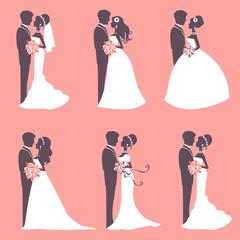 Six wedding couples