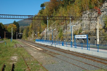 Platform and railway tracks on railway station.