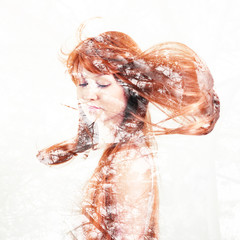 Portrait of a young woman with the effect of double exposure.