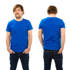 Young man posing with blank blue shirt
