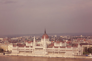 Panorama of Budapest, Hungary, with the Parliment