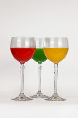 Tree glasses with colored water