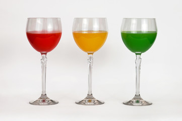 Glasses with colored water
